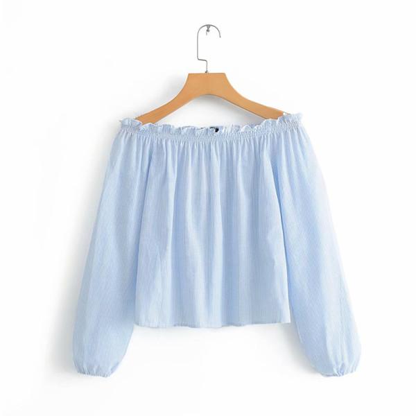 Ocasional Luz Azul Mulheres Curtas Barra de Blusas No Pescoço Sexy Ladies Holiday Outwear Tops Blusa Feminina Streetwear Chemise Femme