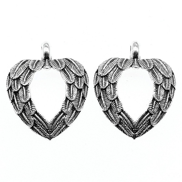 50pcs Angel Wings Heart Charm Wings Heart Pendant Charms Angel Wings Heart Pendant For Jewelry Making Accessories 26x31mm