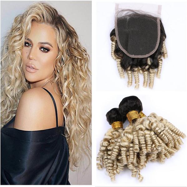 Tante Funmi Curly Blonde Brasilianische Haarbündel mit Verschluss 1b 613 Romance Curl Menschenhaar-Webart mit Schnürverschluss Bouncy Curly Hair