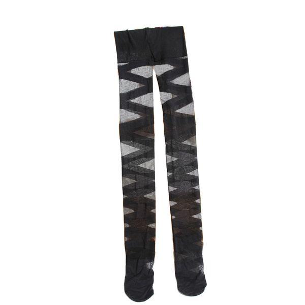 Mulheres sexy meia-calça Preto Rasgado Estiramento Leggings Do Vintage New Cross Striped Mulheres Coxa Meias