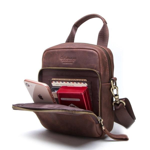 Man Handbag Genuine Leather Shoulder Bag Men Messenger Bags Zipper Design Men Commercial Briefcase Flap Pocket CrossBody Bag