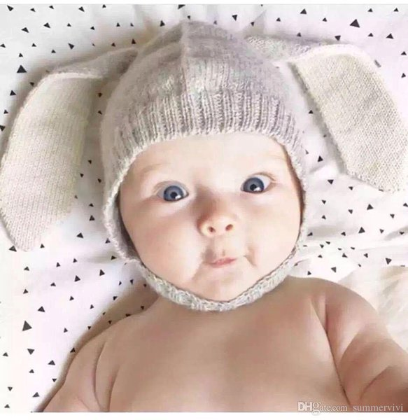 Baby knitted hat children cute rabbit ear hat winter toddler kids catoon bunny velvet warmer caps Bebe photography props accessory R0753