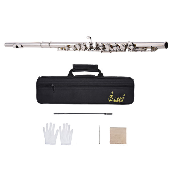 Western Concert Flute Silver Plated 16 Holes C Key Cupronickel Woodwind Instrument with Cleaning Cloth Stick Gloves Screwdriver