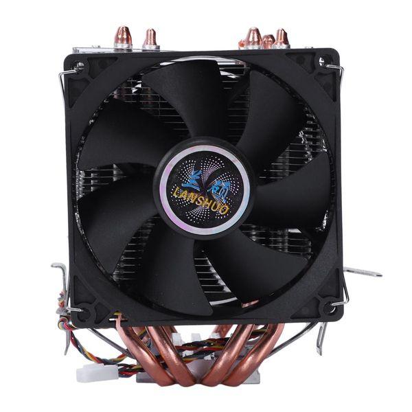 LANSHUO 4 Caloduc 4 fils sans lumière Double ventilateur Cpu ventilateur Radiateur Radiateur Dissipateur de chaleur pour Intel Lga 1155/1156/1366