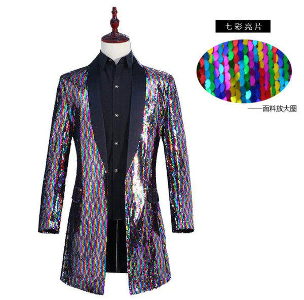 Cheap Sale Turnable Sequin Blazer Men Long Suit Designs Stage Singers Jacket Mens Clothes Dance Star Style Colorful Laser Dress Fashion Suits & Blazers Men's Clothing