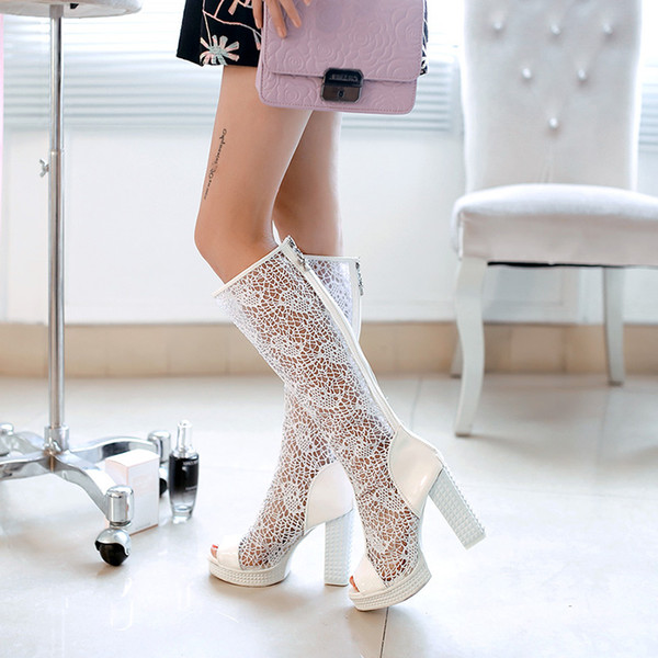 Lady sandals Womens sexy boot High Heel boot 10 cm heel mesh lace shoe black shoe over the knee boot free ship