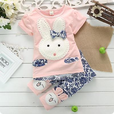 2019 Brand New 2 Style Newborn Baby Girls Boy Cotton Clothes Long Sleeve Pullover Cartoon Rabbits Shirt Tops Pants Autumn Outfit