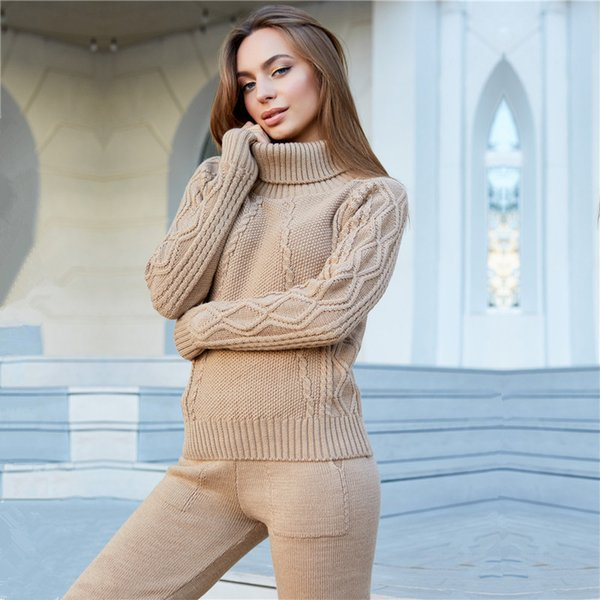 Women's Winter Knitted Tracksuit Suit Turtleneck Sweater + pants Trousers Leisure knit Female Sporting sweat suit Two-Piece Set