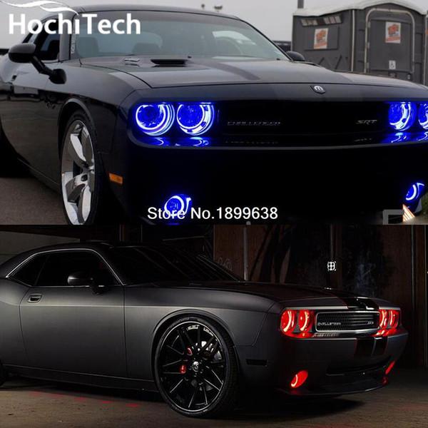 6 pcs super brilhante luz de nevoeiro e farol RGB levou anjo kit olhos para Dodge Challenger 2008-2014 com controle remoto estilo do carro