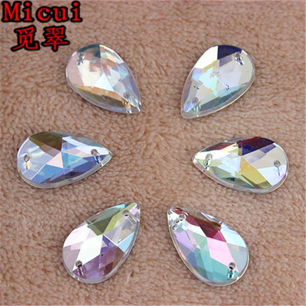 Micui 100pcs 11*18mm Crystal Clear AB Rhinestones Sew On Acrylic Flatback Drop Gems Strass Stones For Clothes Dress Crafts ZZ302