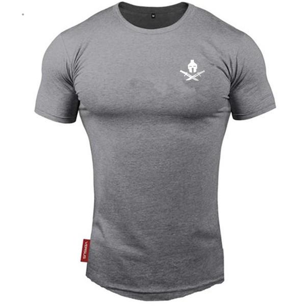2019 Nouveaux Hommes T-shirts Gymnases T-shirt Fitness Crossfit Bodybuilding Slim Chemises Imprimé O-cou À Manches Courtes Coton Tee Tops