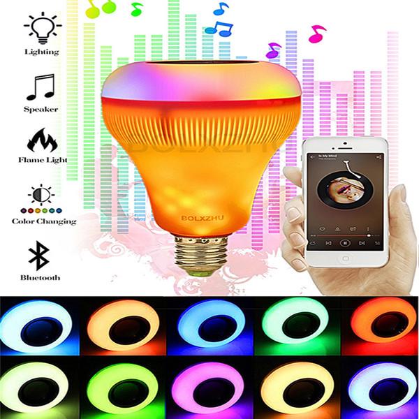 E27 Inalámbrico Bluetooth Fuego Bombilla Música Reproductor Altavoz LED RGB Música Llama Bombilla Colorido Regulable LED Lámpara RGB Para bombillas led