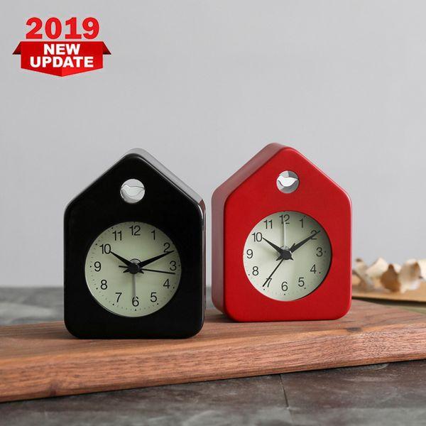 Modern House Shaped Metal Alarm Clock Mute Wake Alarm Clock Fashion