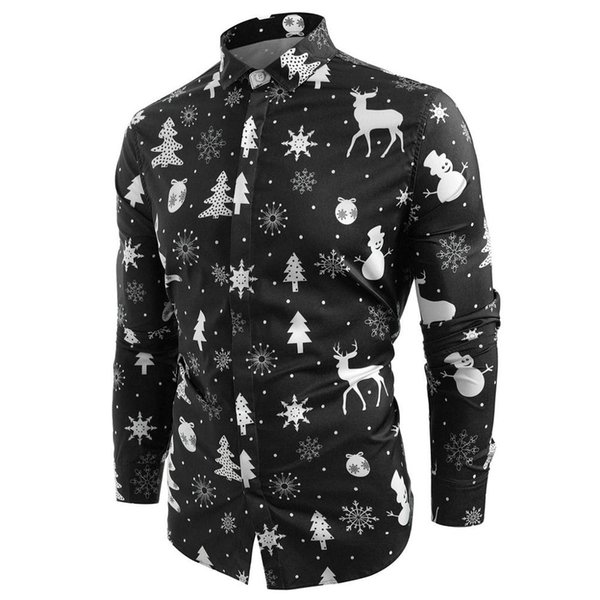 Homens Natal Camiseta Chemise Homme Snowflakes cervos Imprimir manga comprida Casual Slim Fit camisa dos homens Inverno Streetwear Camisa Masculina