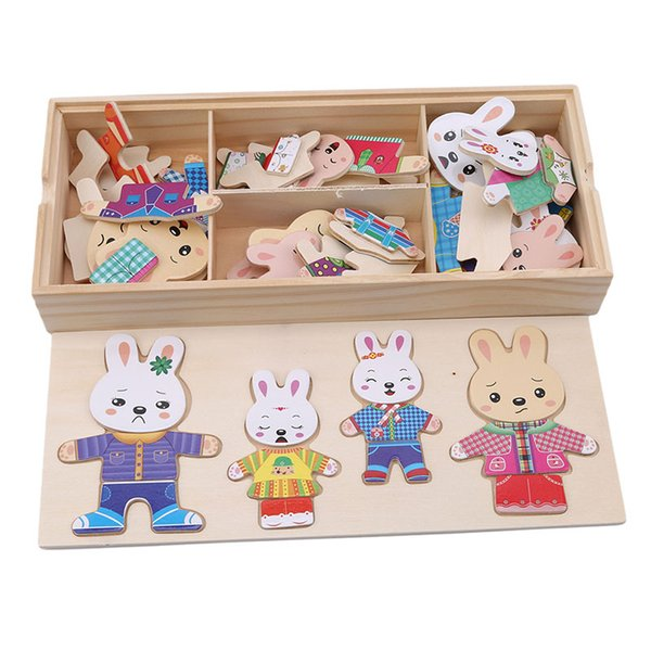 Wooden Animal Rabbit Change Clothes Puzzles Popular Toys Learning Education Dress Changing Jigsaw Puzzle Game Toys For Children