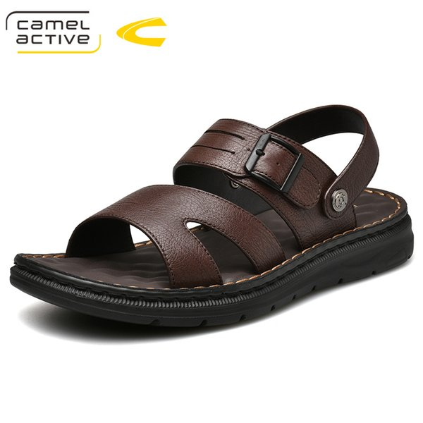Camel Active 2019 New Design Summer Antiskid Gladiator Genuine Leather Buckle Strap Sandals Men Casual Flat Fashion shoes
