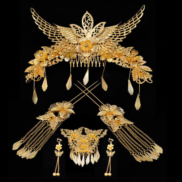 A set Chinese traditional women fashion gold hair vintage jewelry bride wedding hairpin band flower festival gift