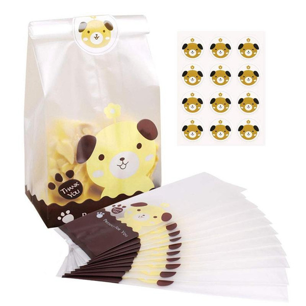 Easter Sweet Bags, 100Pcs Resealable Plastic Biscuit Cookies Bags Clear Treat Bags and 109Pcs Cute Dog Stickers Transparent OPP