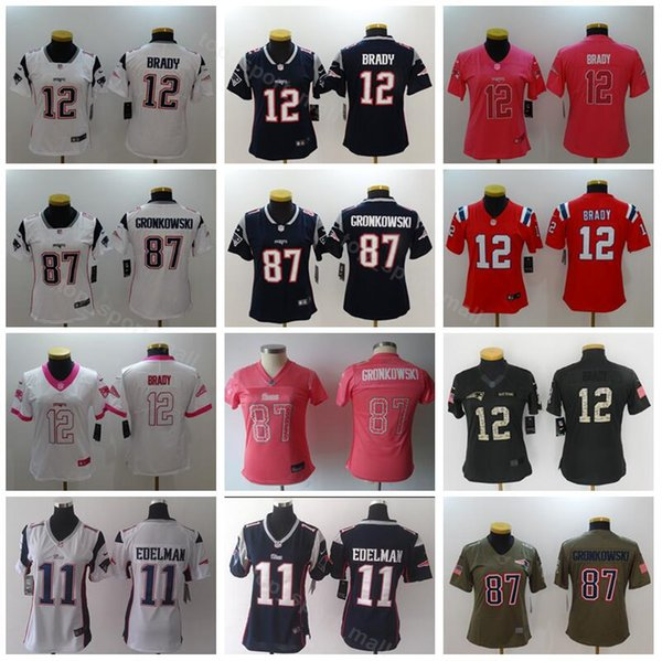 129b8744 Women Tom Brady Jersey 12 Patriots Lady 11 Julian Edelman 87 Rob Gronkowski  Woman Football Jerseys