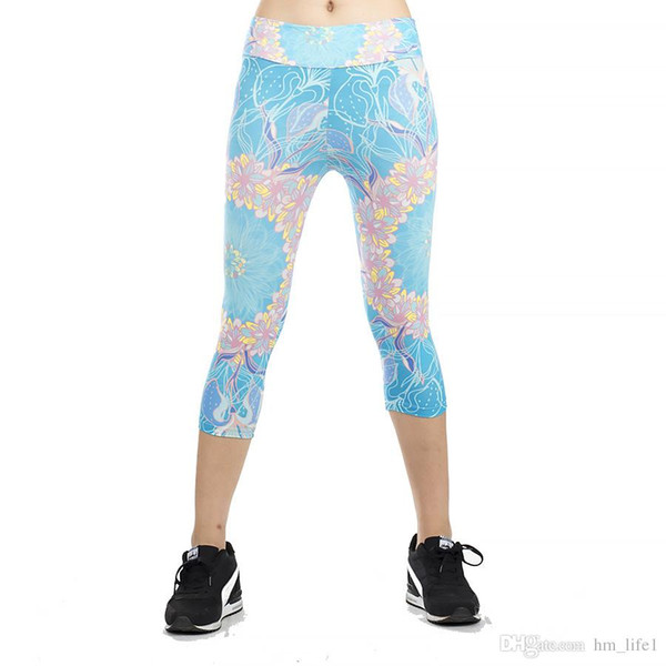 Women Yoga trousers pants Tights trousers Female High waist dance active Sky blue flowers print printing Cropped Leggings Skinny silm motion