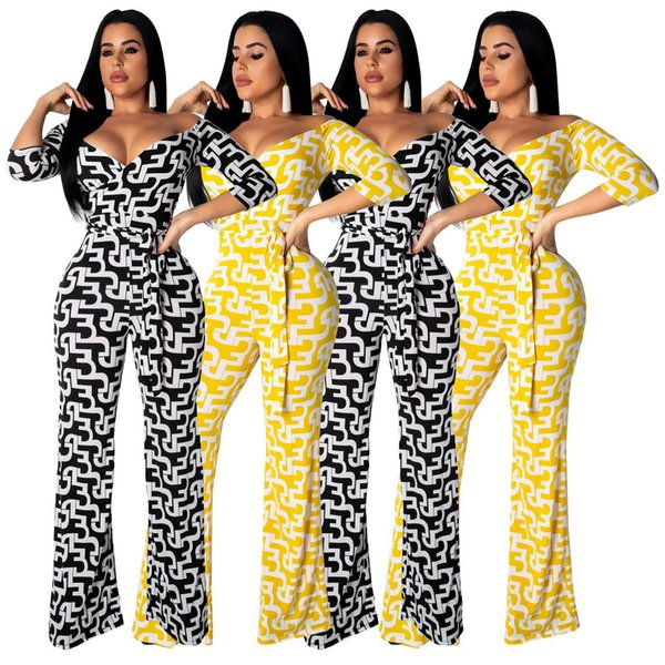 Yellow/Black Printed Fashion Woman Full Length Jumpsuit Hot Sexy Plunging V Neck Half Sleeve Belted Wide Legs Rompers Online