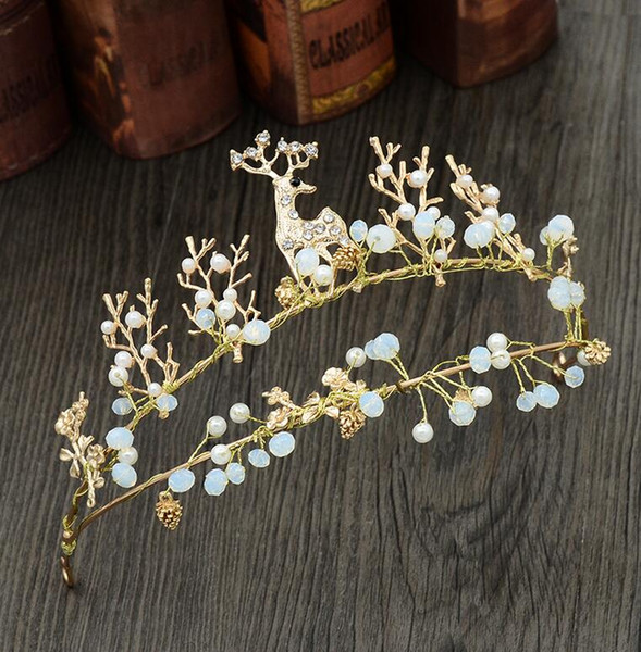 Bridal jewelry dress accessories deer handmade tiara headband hair accessories new