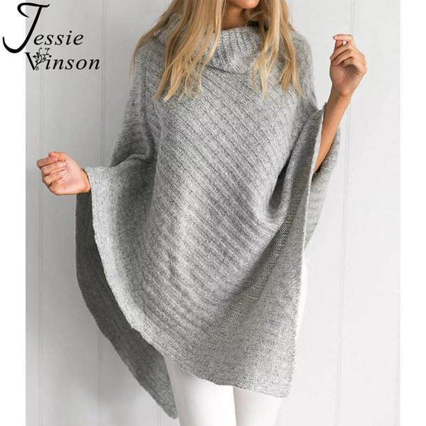 Jessie Vinson Fashion Women Asymmetric High Neck Batwing Sleeve Sweater Cloak Turtleneck Cover up Jumper Autumn Winter Knitwear
