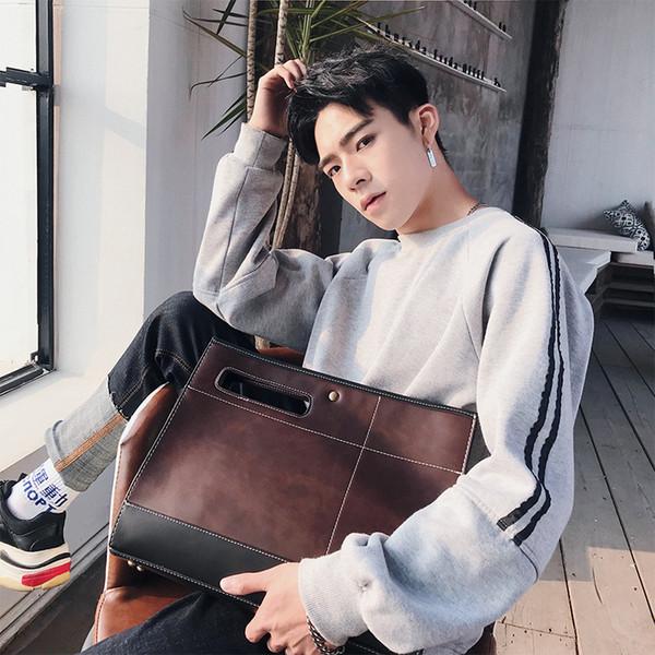 Nova tendência retro-coreano bolsa maleta A4 lazer bolsas Bolsa de Negócios dos homens