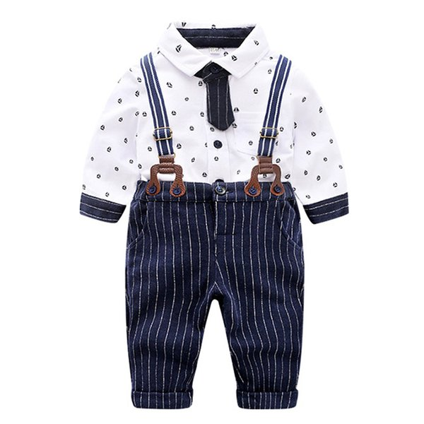 Baby Boys Tie Gentleman Suit Clothing Set Formal Baby White Shirt Striped Pants Formal Wear Wedding Baby Boy Child Costume