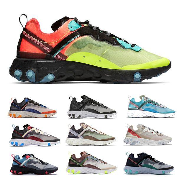 2020 Reaccionar Element 87 zapatos para correr para hombre ligera de las mujeres Bone Triple Negro Real Solar Team Red para hombre de la zapatilla de deporte entrenadores deportivos Runner 36-45