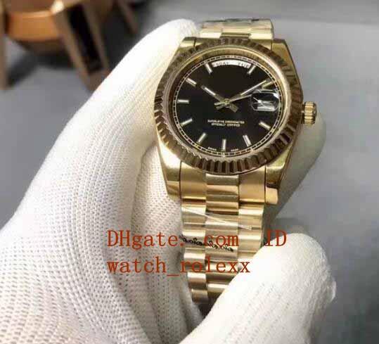 Luxury Day-Date Presidente 41MM oro giallo 18 carati 228238 Black Diamond automatici di sicurezza macchinari Mens Watch degli orologi di marca originale / Papers