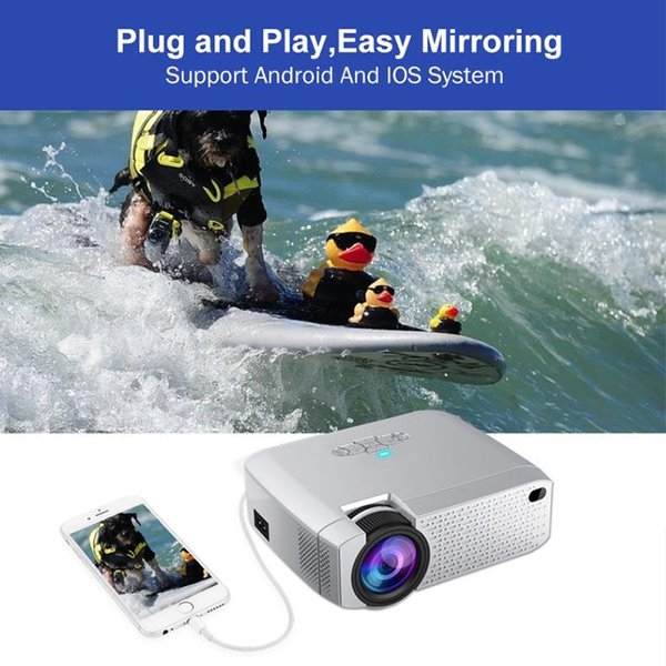 Led mini projetor de vídeo beamer para home cinema 1600 lumens suporte hd sem fio sync display para iphone android telefone projetor inteligente