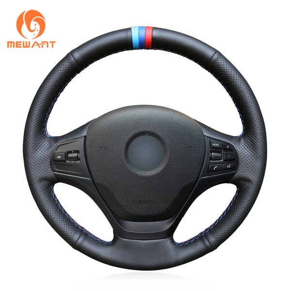 MEWANT Black Genuine Leather Hand Sew Car Steering Wheel Cover for BMW F30 316i 320i 328i
