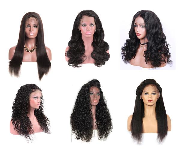 Cheveux droits brésiliens avant de lacet perruques corps lâche vague profonde Jerry Kinky bouclés Full Lace perruques noeuds blanchis