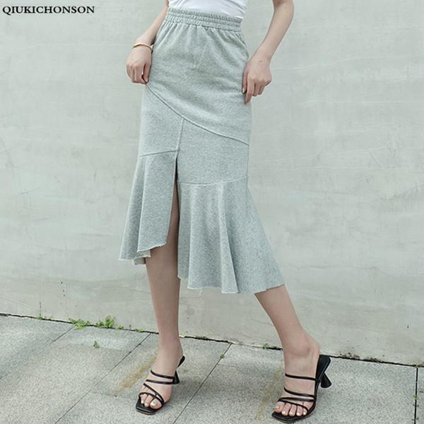 Qiukichonson 2019 verano nueva moda coreana falda larga de sirena gris midi longitud mujer elegante cintura alta bodycon faldas de algodón