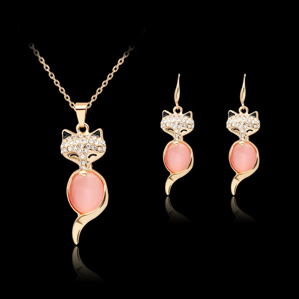 fashion crystal necklace earrings Pink Opal fox Jewelry set Rose Gold Color Crystal Set for women Gift cute animal maxi statement