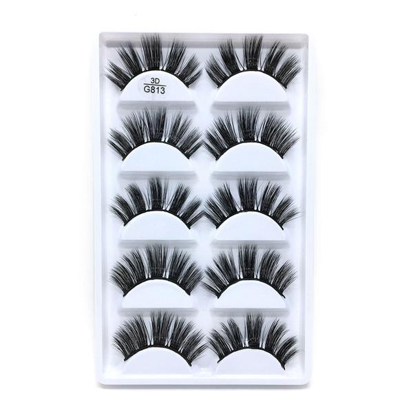 G813-19 5pairs/set False EyeLashes 5 Pairs 3D Natural Long Fake Eyelashes Handmade Makeup Tools Accessories Reusable Extension Lash