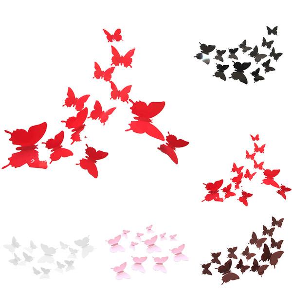 12 unids PVC 3d mariposa pared dormitorio etiqueta engomada del PVC decorativos tatuajes de pared extraíble decoración del hogar