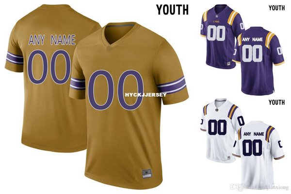 Cheap 2016 Youth LSU Tigers Customized College Football Limited Jersey - Gridiron Gold White Purple