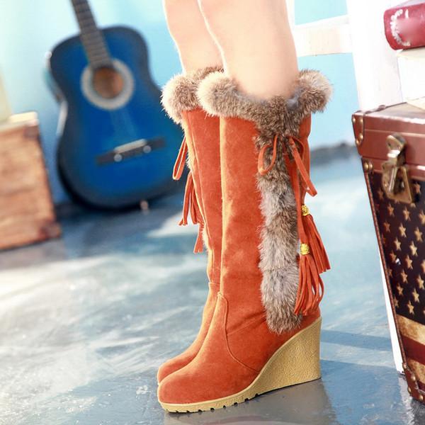Aumentar cargadores del ocio Ronda-dedo del pie de la borla de las mujeres a mantener largos del tubo botas de nieve caliente 2019 Zapatos Otoño Invierno Mujeres Chaussures femme