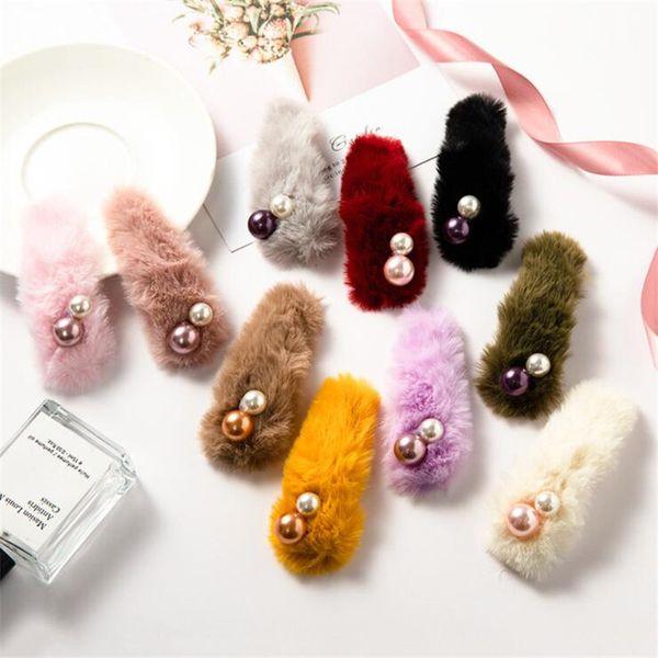 Winter Neue Nette Plüsch Perle Haarnadeln Frauen Mädchen Kinder Haarspangen Haarnadeln Zubehör Für Kinder Hairgrip Haarspange Haarspange