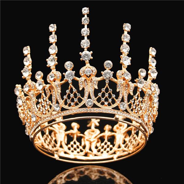 Rainha De Cristal strass Tiara De Noiva Coroas Para A Princesa Menina Diadema Noiva Pagenat Cabelo Enfeites de Casamento Jóias Cabelo