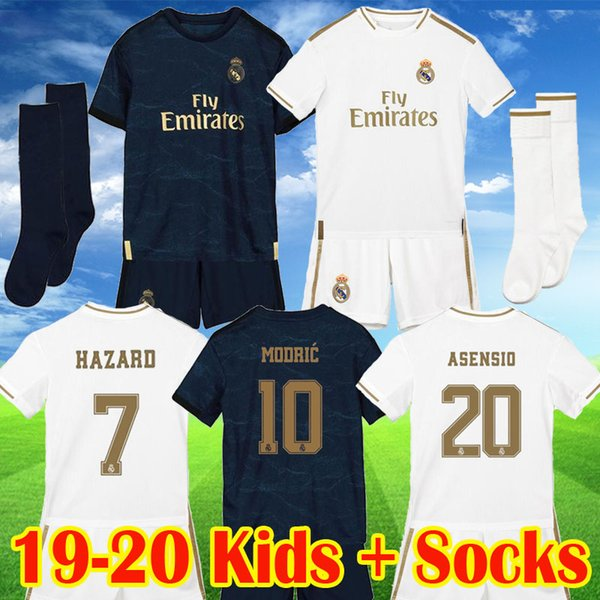Großhandel Real Madrid 19 20 HAZARD JOVIC MILITAO Kinder Trikot 2019 2020 VINICIUS ASENSIO Fußballtrikot Kinderuniform Trikot Von Usoccerjersey,