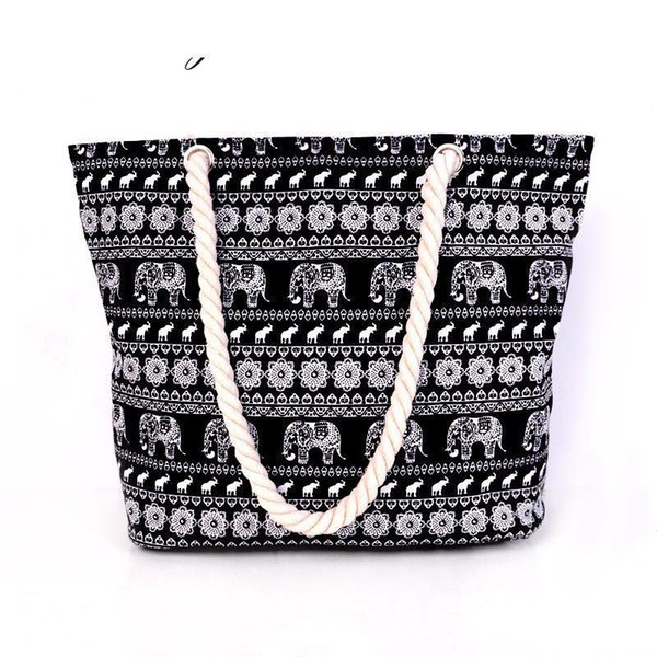 good quality Hot New Arrival Animal Print Canvas Bags Women Elephant Print Shoulder Bags Black Big Capacity Daily Female Shopping Bags