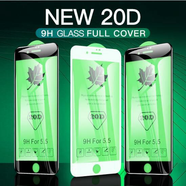 Nueva actualización 20D Cristal templado de borde curvo para iPhone X XS XS Máx. 6 7 8 Plus Película de protector de pantalla de cubierta completa