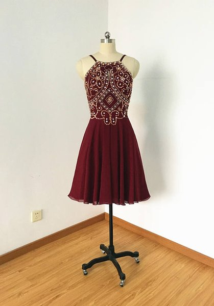 2019 Short Burgundy Prom Dresses Halter Chiffon Backless Real Photos Cheap Designer Sparkly Beading Sequined Rhinestones Homecoming Party
