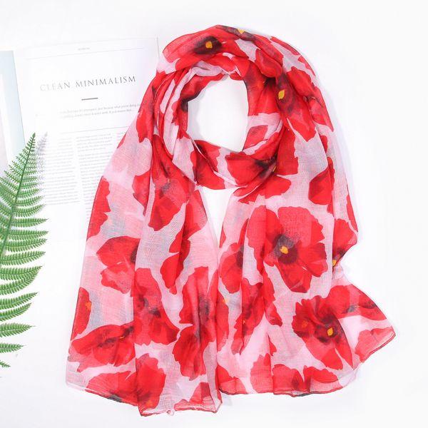 2019 Fashion Poppy Flower Print Scarves Wrap Shawls Women trendy floral Scarf Beach Wrap Hijib 5 color Free Shipping