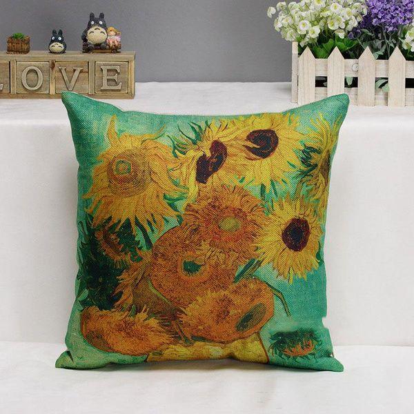 Vincent van Gogh Berühmte Gemälde Kissenbezüge Ölgemälde The Starry Night Sunflower Kunst Kissenbezug Sofa Leinenbaumwollkissenbezug