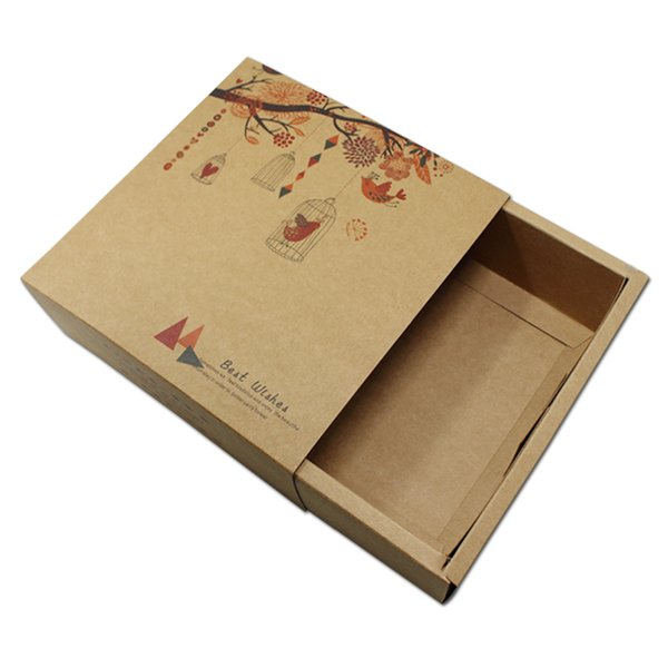 15pcs Brown Kraft Paper Paperboard Drawer Box Packaging Carton Flower Birds Print 2 Sizes Gift Candy Packing Wedding Party free shipping