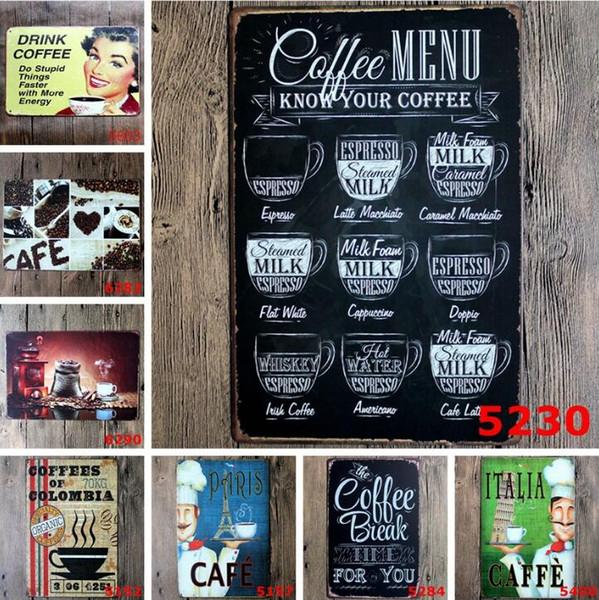 Letrero de metal retro café Carteles de chapa vintage Placa de hierro de imitación antigua Pintura Decoración La pared de Bar Cafetería Pub Shop (diseños mixtos) LXL258